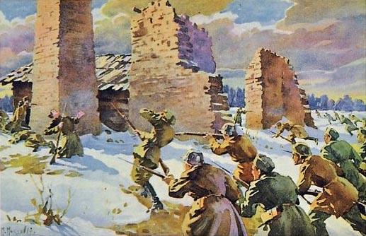 Paju lahing. M. Maksolly akvarell postkaardil.